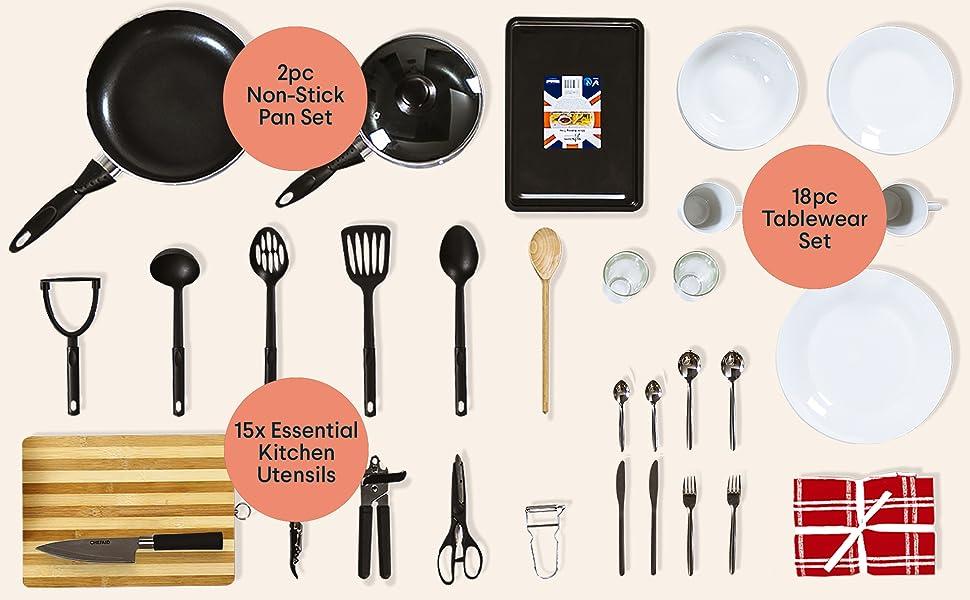 starter kit set bundle pack kitchen homeware utensils non-stick