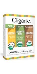 Cliganic Lip Balm Set, 3 Pack