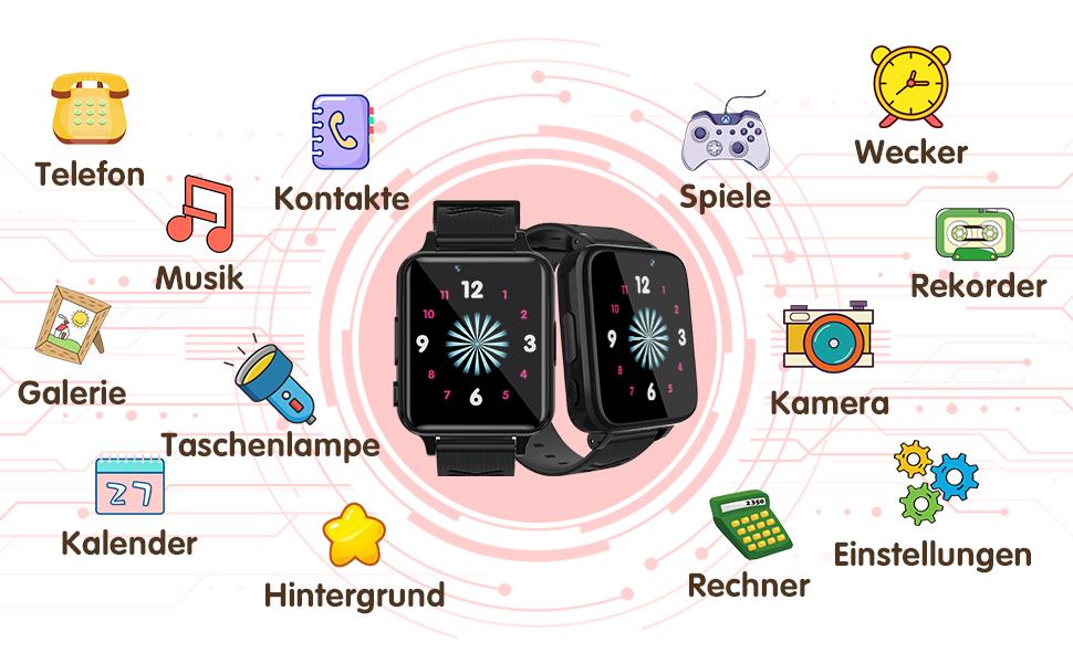 Smartwatch voor kinderhorloge en telefoon.