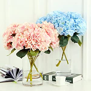 Jasion Artificial Flowers Hydrangeas Flowers 5 Big Heads Silk Bouquet for Office Home Party Decoration 3 PCS Hydrangea Champagne