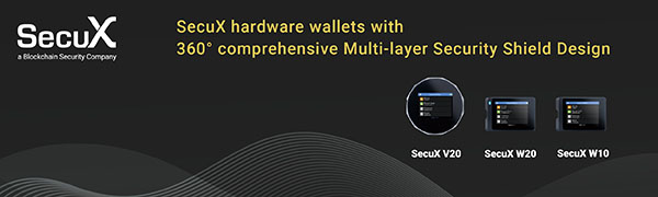 SecuX V20 Crypto-asset Hardware Wallet - Mobile-ready Bluetooth Enabled - Fully Support Bitcoin