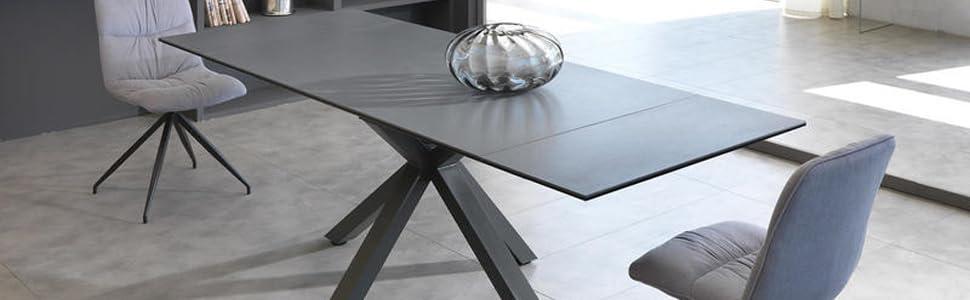 Tavolo Allungabile da 160cm a 240cm Due Allunghe Top in Ceramica su Vetro Temperato Grigio Grafite