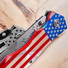 USA Flag Knife Don't Tread On Me Engraving