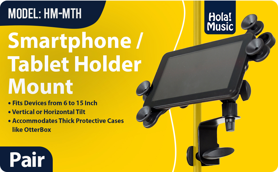 Hola! Music HM-MTH Microphone Stand Tablet Smartphone Holder Mount Devices from 6 15 Inch 2 pack