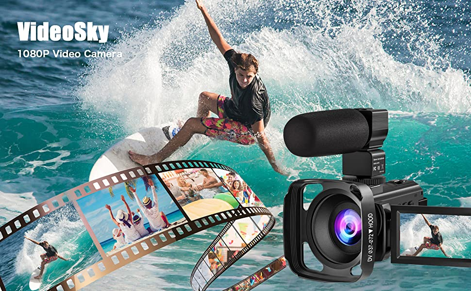 video camera  Video Camera Camcorder with Microphone, VideoSky 42MP HD 1080P 30FPS Digital Recording Camcorders for YouTube 64 GB Memory Card Vlogging IR Night Webcam Time-Lapse Slow Motion,Touch Screen, Lens Hood f7dbc9e7 0979 4124 bc5e 82c839bbe905