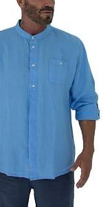 men linen shirt mandarin neck