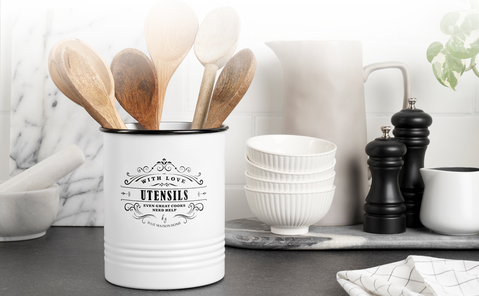 Baie Maison kitchen utensil organizer for countertop rustic farmhouse extra large tall utensil crock