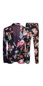 Men's 2 Piece Fashion Floral Print One Button Notched Lapel Jacket Blazer amp; Trousers