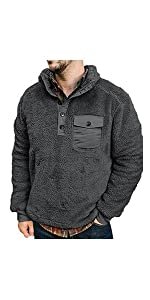sherpa hooded pullover for men