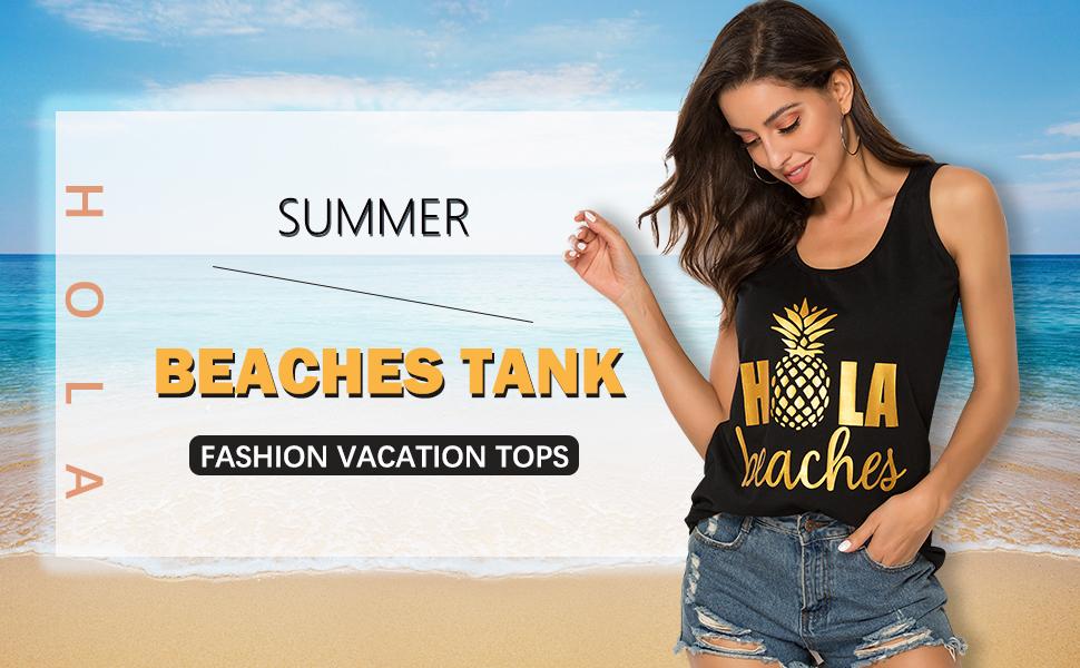 Hola Beaches Letter Print Tanks Shirt Pineapple Tee Tops