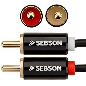 Câble Audio Cinch 0,5 2 sur 2 connecteur cinch RCA Câble AUX audio systèmes stéréo systèmes hi-fi