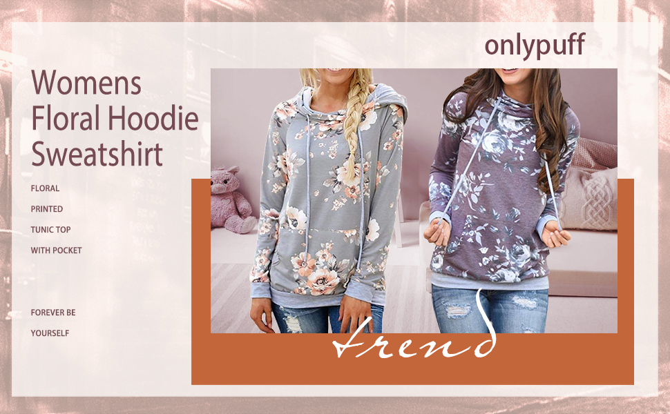 onlypuff Womens Floral Print Hoodie Sweatshirts Casual Tunic Tops with Pockets