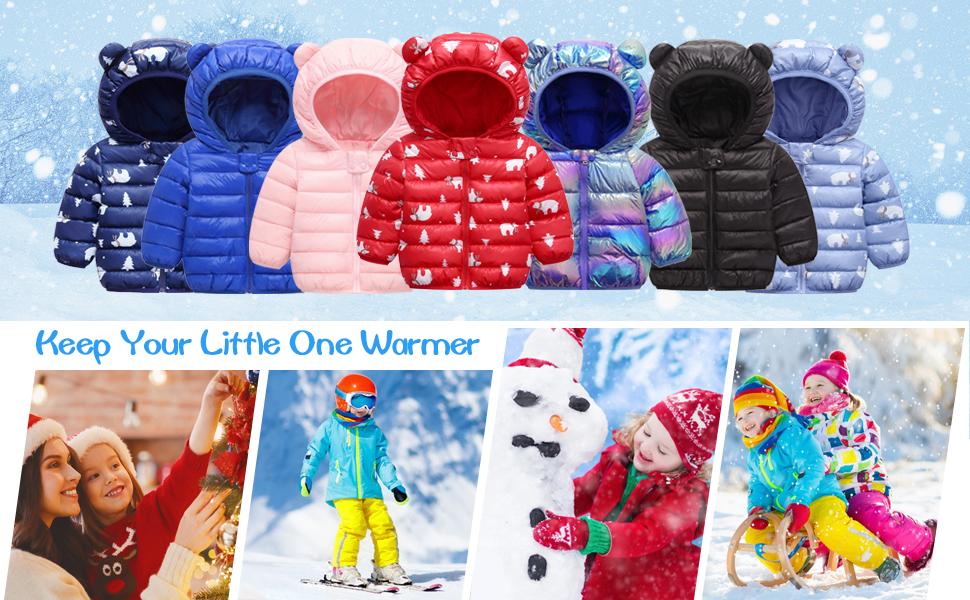 Baby Boys Girls Winter Coat Toddler Kids Warm Hooded Jacket Outerwear