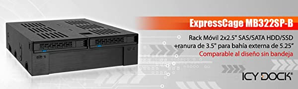 "Icy Dock ExpressCage MB322SP-B - Rack Extraible 2x2.5"" SATA/SAS ..."