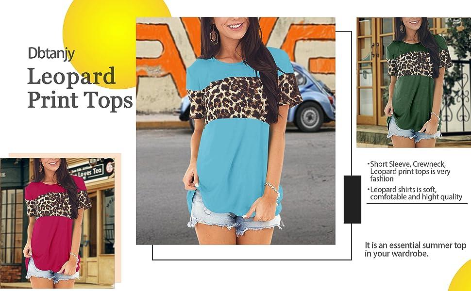 Dbtanjy Women's Summer Leopard Print Tops