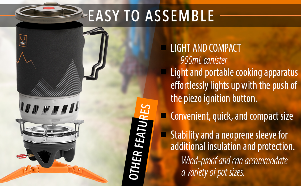 Camping stove light and compact, portable gas stove, wind-proof, 900ml canister
