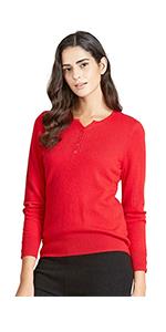 Notch Neck Cashmere Sweater