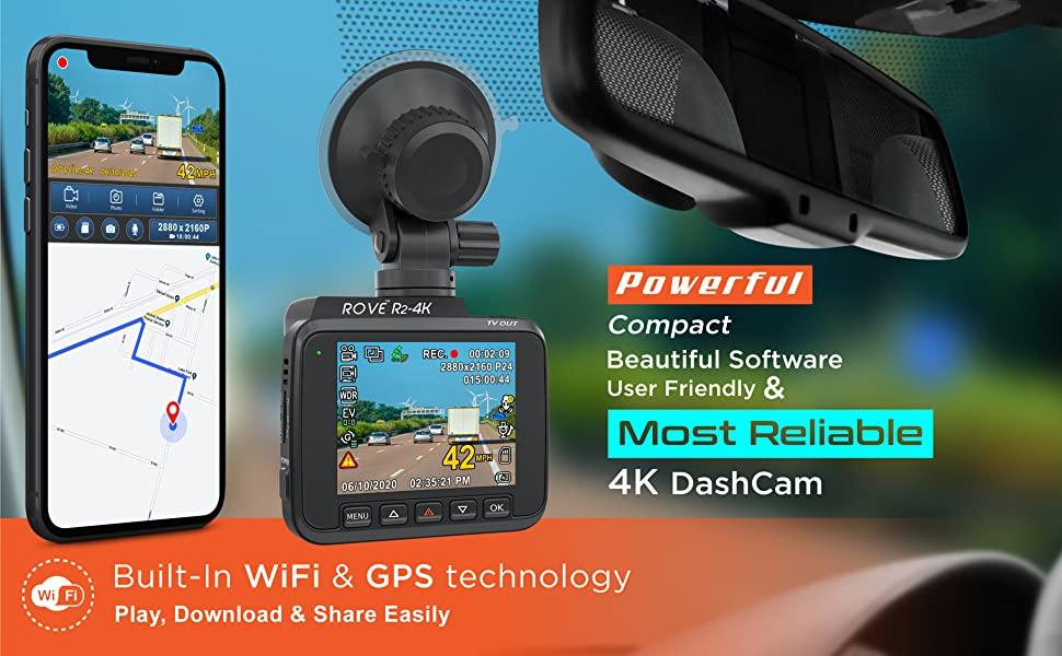 Rove r2 - 4k dash cam r2-4k dash camera for cars cams video wifi gps built in night vision dashcam