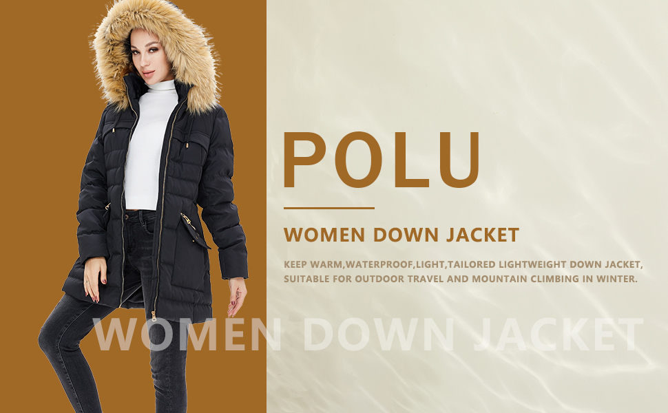 Women's Winter Coats Removable Hood Faux Fur Trim Thicken Solid Down Jacket Puffer Jacket