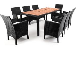 Casaria Conjunto de sillas y mesa de poliratán tablero mesa de ...
