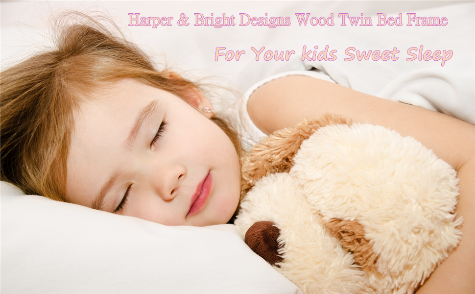 bed frame twin for kids  Harper&Bright Designs Wood Platform Bed with Headboard, Footboard, Wood Slat Support, No Box Spring Needed(Twin, White) f81b5fe6 a8d3 402a 9d87 cf18ddd5bd93