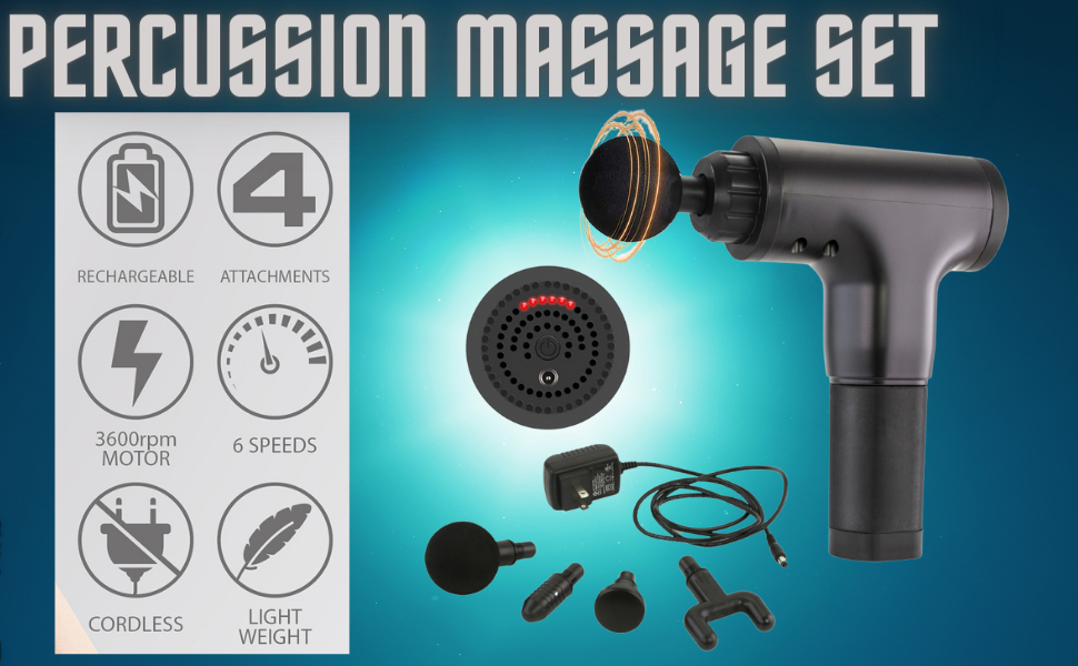 Percussion massage set with all attachment and adapter