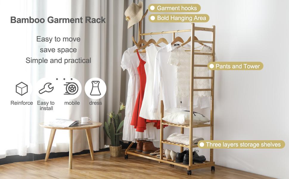 bamboo garment rack structure