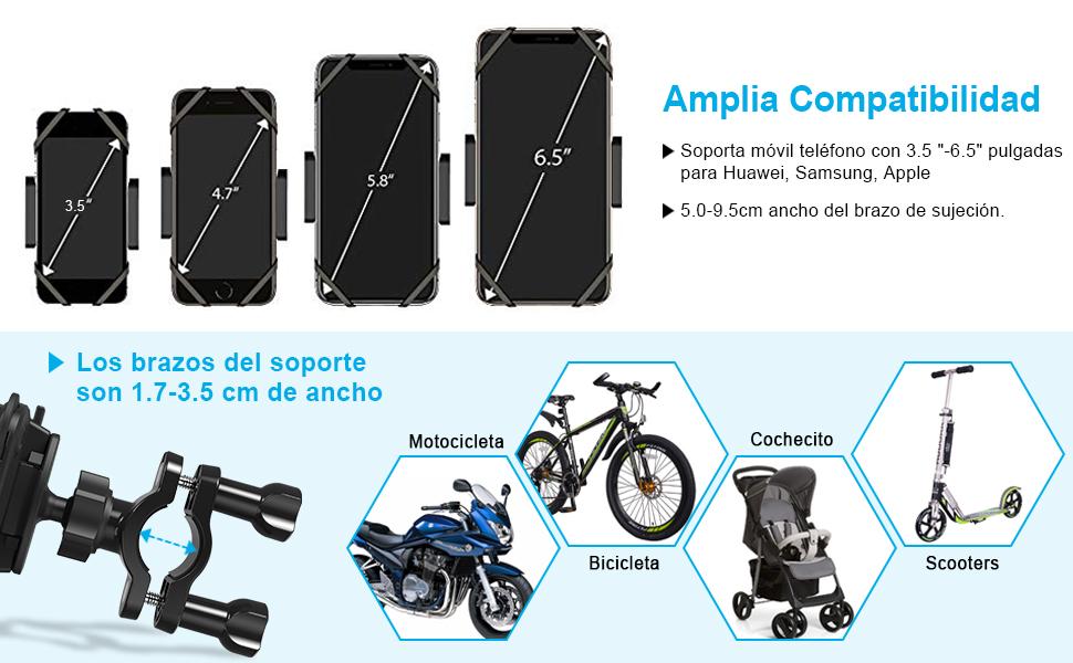 OMERIL Soporte Movil Bicicleta y Moto, Anti Vibración Soporte Movil Bici Desmontable, 360° Rotación Soporte para iPhone X/Xr/Xs/8/7/6, Samsung S9/S8, ...