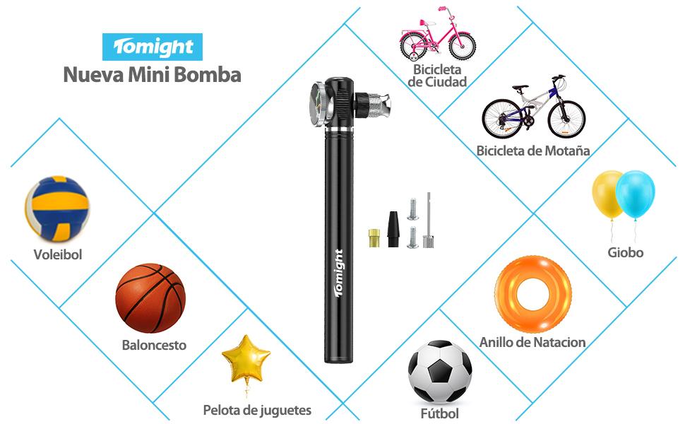 Tomight Mini Bomba para Bicicleta con Manómetro 260PSI,Bomba de Mano pequeña para Neumático Portátil, Compacta, Duradera y Rápida con Alta Presión ...