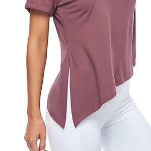 split side asymmetrical hem solid sports tee top athletic shirt