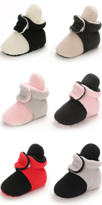 Unisex Newborn Baby Cotton Booties Non-Slip Sole for Toddler Boys Girls Infant Winter Warm