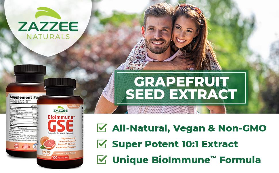 Zazzee Naturals Grapefruit Seed Extract Unique BioImmune Formula Super Potent 10:1 extract Vegan