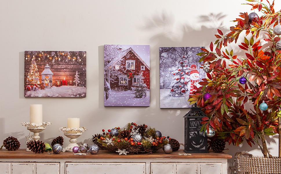 Lighted Canvas Picture Art Home Office Decor LED Light Up Side By Side
