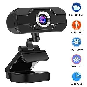 Webcam with Microphone Full HD 1080P Webcam 90-Degree Widescreen USB PC Webcam Desktop & Laptop