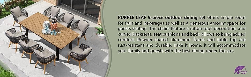 purple leaf 9 piece outdoor patio aluminium dining table chair set outside deck communication set