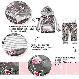 Yilaku Newborn Baby M/ädchen Langarm Blumen Hoodie Sweatshirt Tops Hose Kleidung Outfits Set 2tlg Set