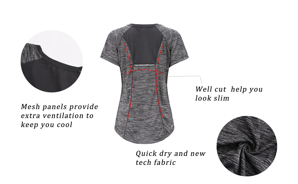 DancingCat Women's Workout Active Plus Size Tops Fitness Short Sleeve V-Neck Tee Shirt Yoga Shirts