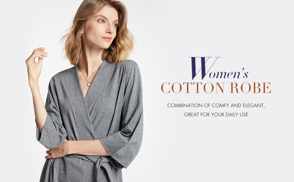 Lightweight Knit Dressing Gown Loungewear for House Spa Long SIORO Womens Kimono Robe Femme Cotton Bathrobe S-XL