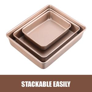 deep baking pans nonstick stackable best gift for family sheet cake pan set oven pan set bakeware