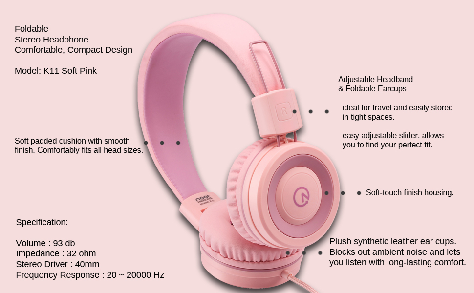 Kids headphones K11 Soft Pink