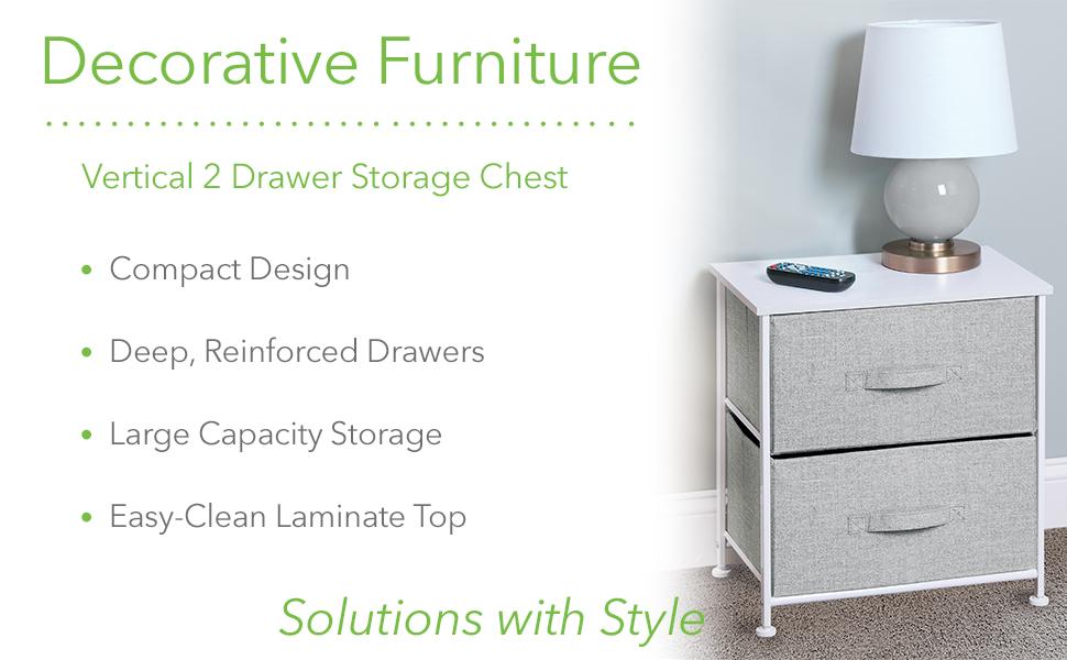 Decorative Furniture Vertical 2 Drawer Storage Chest