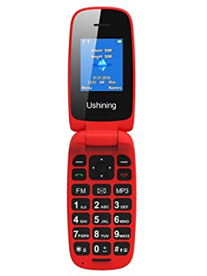 Ushining Teléfono Móvil Libre, Teléfono Móvil para Personas Mayores Teclas Grandes con Tapa Pantalla de 1,8 Pulgadas (Dual SIM, Cámara, Bluetooth, ...