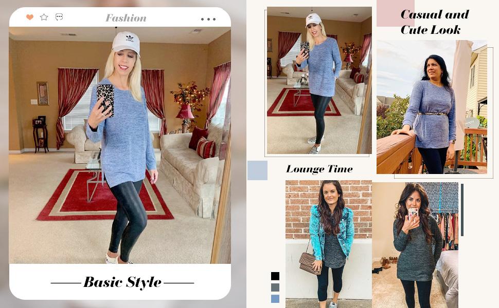 womens tunic tops for leggings long sleeve shirts