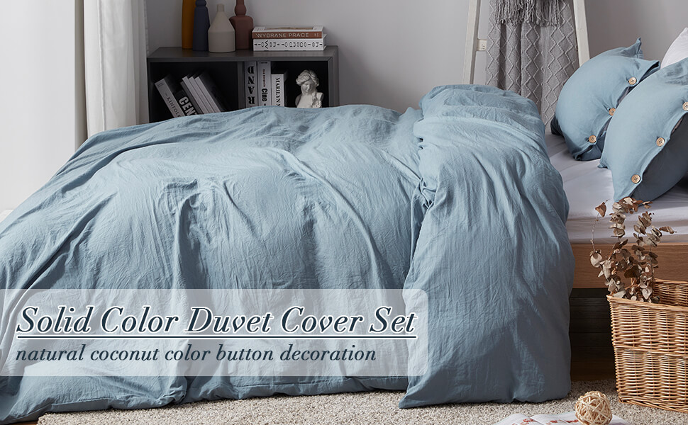 SunStyle Home Twin Size Duvet Cover Set with Buttons Closure-Blue Grey Washed 100/% Microfiber,2 Pieces Solid Color Ultra Soft Skin-Friendly Comforter Cover Set, 1 Duvet Cover +1 Pillowcase