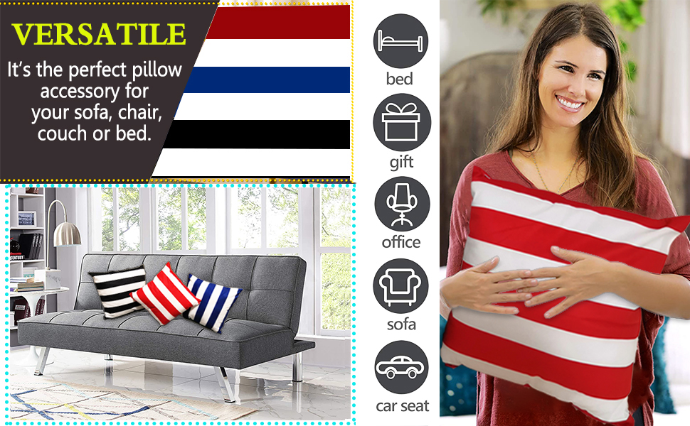 Square Throw Pillow Sham Cushion Case Covers for Car/Couch Use