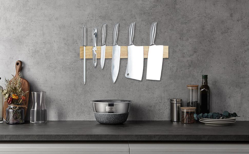 MIAOHUI Magnetic Wood Knife Holders have vast number of uses
