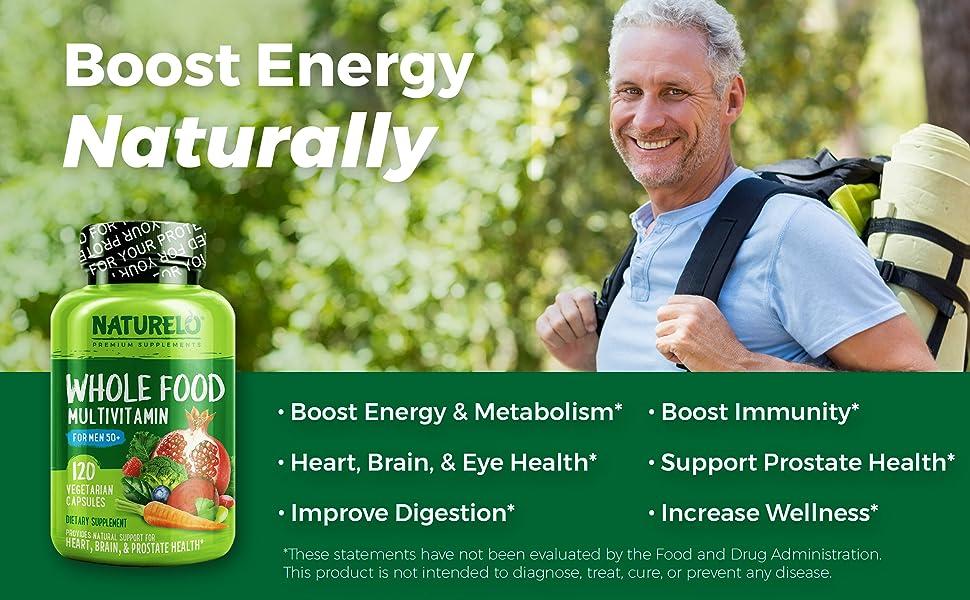 NATURELO Whole Food Multivitamin for Men 50+