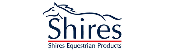 Shires logo with a line drawing of a horse and the words Shires Equestrian Products underneath