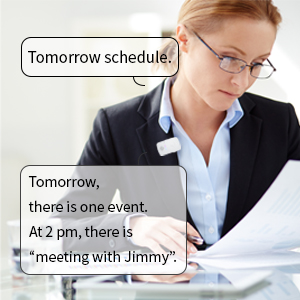 The office worker is scheduling with 'frenby'.