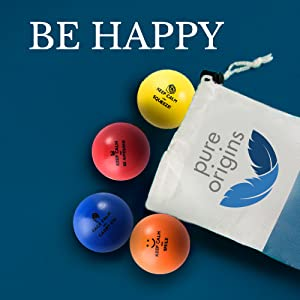 happy stress balls, relax, stress relief, 4 pack, free bag, good packaging